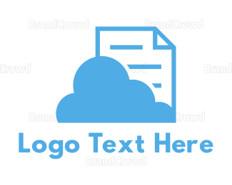 Cloud Drive - Blue Cloud Document logo design