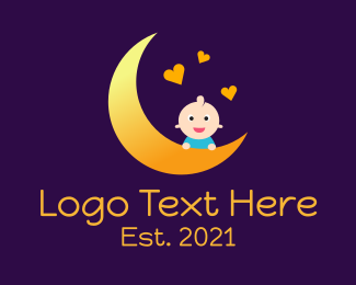 Hearts - Moon Baby Hearts logo design