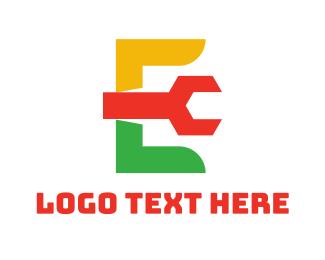 Initial - Colorful Wrench E logo design