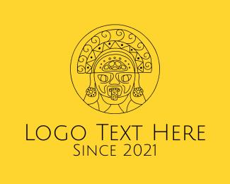 Simple - Minimalist Mayan Mask logo design