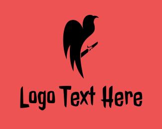 Animal - Black Horror Vulture  logo design