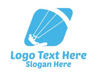 Parachute - Blue Kitesurf logo design