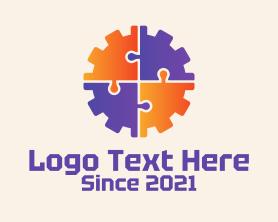 Automation - Puzzle Cogwheel Engineer logo design