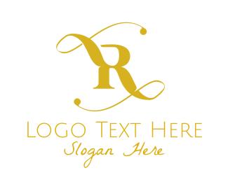 Vintage - Golden Elegant Letter R logo design