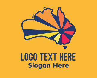 Map - Australian Map Sun logo design