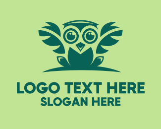 Green Owl Bird Logo