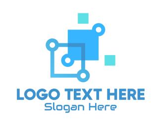 Squares - Blue Digital Tech Squares logo design