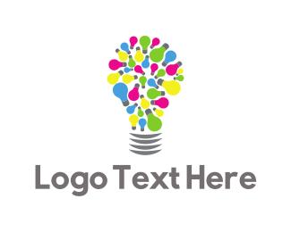 Lightbulb - Colorful Lamp logo design