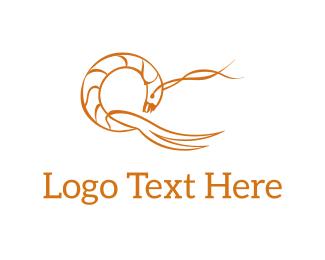 Crustacean - Abstract Prawn logo design