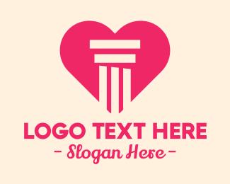 Ionic - Pink Pillar Heart logo design