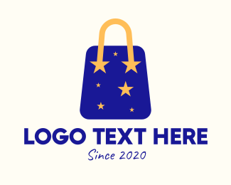 Nighttime - Starry Shopping Bag logo design