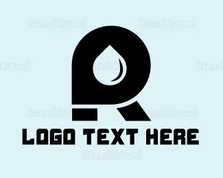 Drinking Water - Oil Letter R logo design