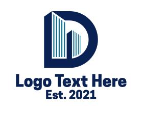 Real Estate - Letter D Skyscraper logo design