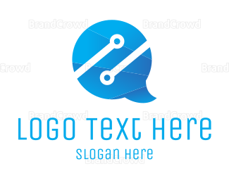 Communicate - Chat Tech logo design