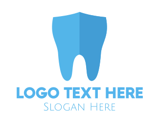Blue Tooth - Dental Tooth Shield logo design