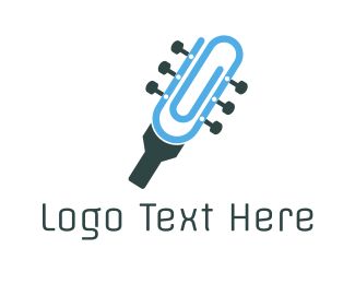Folk - Guitar Clip logo design