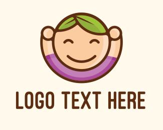 Leaves - Happy Kid Leaves Hair logo design
