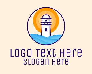 Beacon - Sunset Lighthouse Illustration logo design