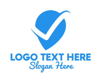 Location Service - Blue Verified Pin logo design