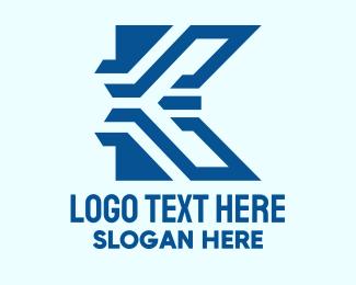 Technical - Blue Tech Letter K logo design