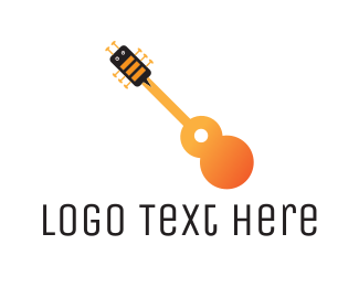 Folk - Bee & Guitar logo design
