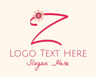 Calligraphy - Pink Flower Letter Z logo design