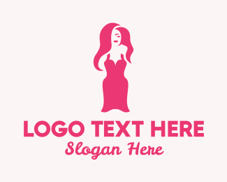 Fashion - Sexy Pink Women Dress logo design