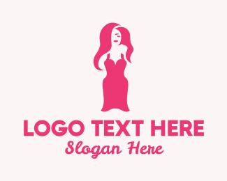 Girly - Sexy Pink Women Dress logo design