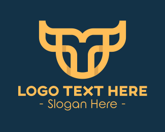 Unique - Unique Yellow Bull Head logo design