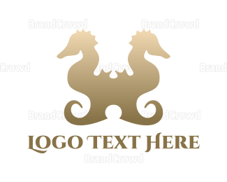 Double - Double Seahorse  logo design