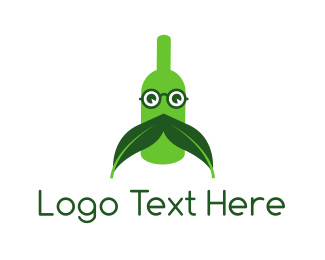 French - Green Moustache Bottle logo design