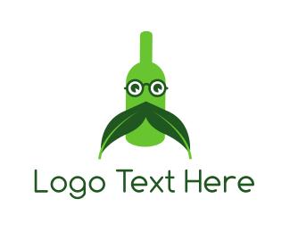 French - Green Moustache Bottle logo design