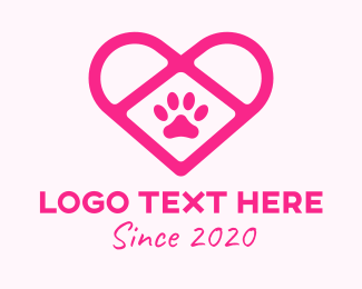 Pet Lover - Pet Care Paw Heart logo design