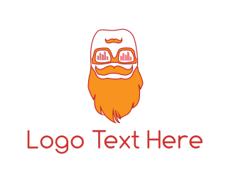 Burning Man - Hipster Beard logo design