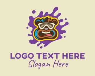 Teddy Bear - Party Bear Ink Splatter logo design