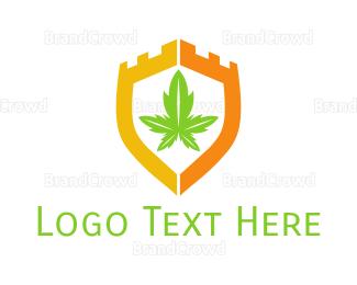 Joint - Cannabis Shield Castle logo design