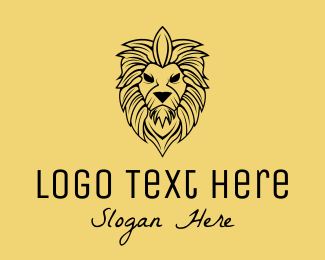 Bust - Luxurious Wild Lion  logo design