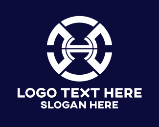 Machinery - Futuristic Tech Letter H logo design