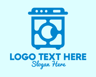 Home Appliances - Blue Washing Machine  logo design