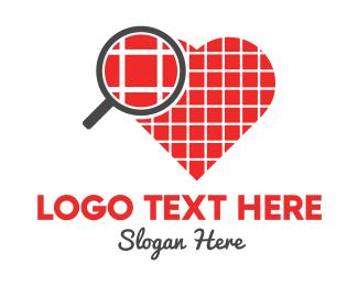Red Square - Love Search logo design