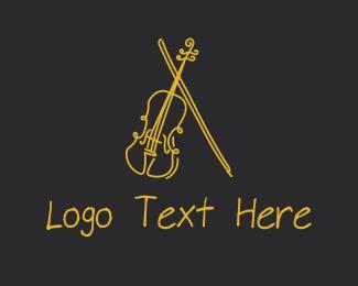 Acoustic - Golden Violin Cello logo design