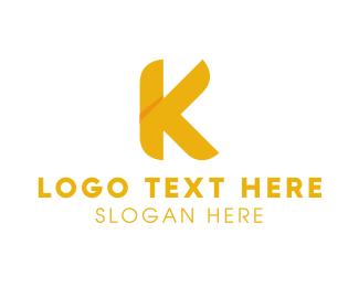 Letter K - Golden Letter K logo design
