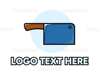 Recipe - Butcher Blue Knife logo design