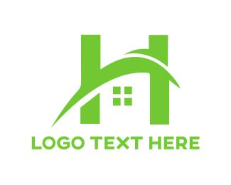 Swoosh - Green H House logo design