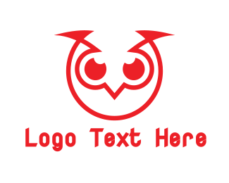 """Abstract Red Owl"" by LogoBrainstorm"