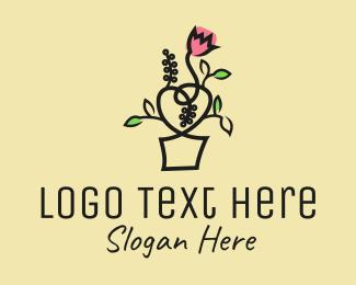Botanical Product - Flower Pot Outline logo design