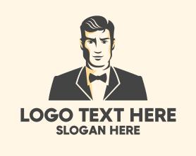 Fashion - Handsome Man Fashion Tuxedo logo design