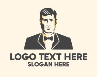Rental - Handsome Man Fashion Tuxedo logo design