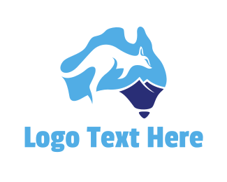 South Australia - Blue Kangaroo Australia logo design
