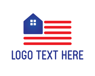 Usa - USA Flag House logo design